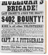 Civil War: Broadside, 1863 Wood Print