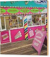 Clacton Pier Shop Wood Print