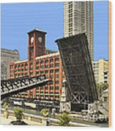 Clark Street Bridge Chicago - A Contrast In Time Wood Print by Christine Till