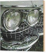 Classic Car - White Grill 1 Wood Print