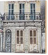 Classic French Quarter Residence New Orleans Colored Pencil Digital Art Wood Print