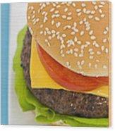 Classic Hamburger With Cheese Tomato And Salad Wood Print