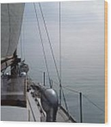 Classic Wooden Sailboat With No Horizon Off The Bow Wood Print