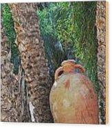 Clay Jar By Palm Tree Wood Print