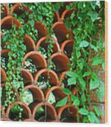 Clay Pattern Wall With Vines Wood Print