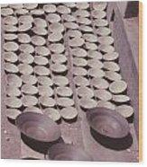 Clay Yogurt Cups Drying In The Sun Wood Print