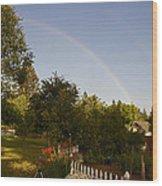 Clear Sky Rainbow Wood Print