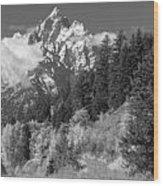 Clearing Storm On Grand Teton  Wood Print