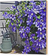 Clematis And Watering Can Wood Print