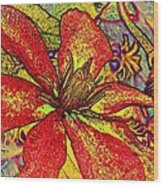 Clematis In Colored Pencil  Wood Print