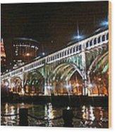 Cleveland Reflection Wood Print by Rotaunja