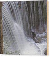 Cliff Falls In Maple Ridge Wood Print