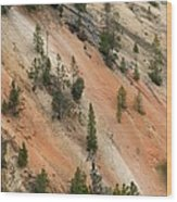 Cliff Side Grand Canyon Colors Vertical Wood Print