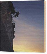Cliff Silhouette At Sunset, Jasmund Wood Print