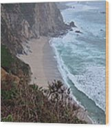 Cliffs And Surf On The California Coast Wood Print