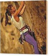 Climber Heidi Badaracco Leads A Route Wood Print