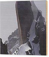 Climbers Move Carefully Across Steep Wood Print