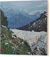 Climbing Mount Rainier Wood Print