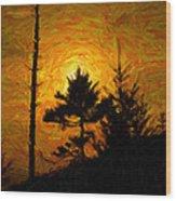 Clingmans Dome Sun Spot Wood Print