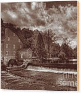 Clinton Red Mill House Sepia Wood Print