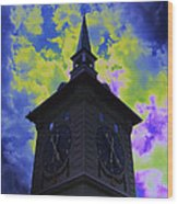 Clock Tower Night Wood Print