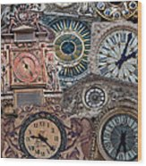 Clocks Of Paris Wood Print
