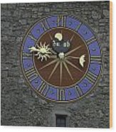 Clocktower In Lucerne On A Stone Tower Wood Print