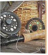 Close-up Fly Fishing Rod  Wood Print
