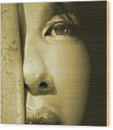 Close-up Of A Beautiful Asian Woman Wood Print