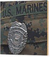 Close-up Of A Duty Master-at-arms Badge Wood Print