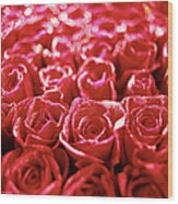 Close-up Of A Mass Of Red Roses Wood Print by Stockbyte