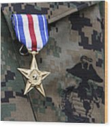 Close-up Of A Medal On The Uniform Wood Print