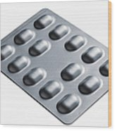 Close Up Of Blister Pack Of Pills Wood Print