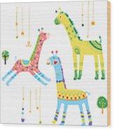 Close-up Of Giraffes Wood Print