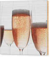 Close Up Of Glasses Of Champagne Wood Print