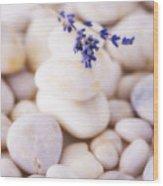 Close Up Of Lavender On Pebble Stones, Studio Shot Wood Print