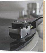 Close Up Of Record Player Wood Print by Hiroshi Uzu
