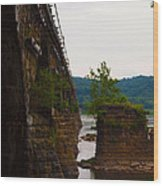Close Up Of The Bridge Over The River Wood Print