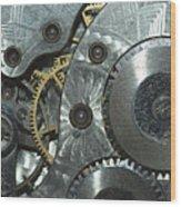 Close-up View Of Complex Clockwork Wood Print