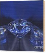 Closeup Blue Diamond In Blue Light. Wood Print by Atiketta Sangasaeng