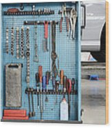 Closeup Of A Variety Of Tools On A Blue Wood Print by Corepics