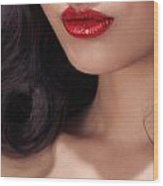 Closeup Of Woman Red Lips Wood Print