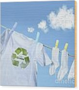 Clothes Drying On Clothesline With Go Green Sign  Wood Print by Sandra Cunningham