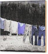 Clothesline  Wood Print