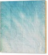 Cloud And Blue Sky On Old Grunge Paper Wood Print