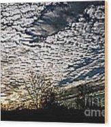 Cloud Blanket Sunset Wood Print