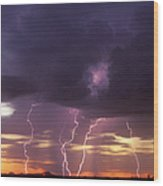 Cloud To Ground Lightning At Sunset Wood Print
