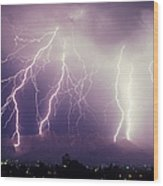 Cloud To Ground Lightning Wood Print