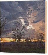 Clouded Sunset Wood Print