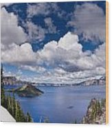 Clouds Above Crater Lake Wood Print